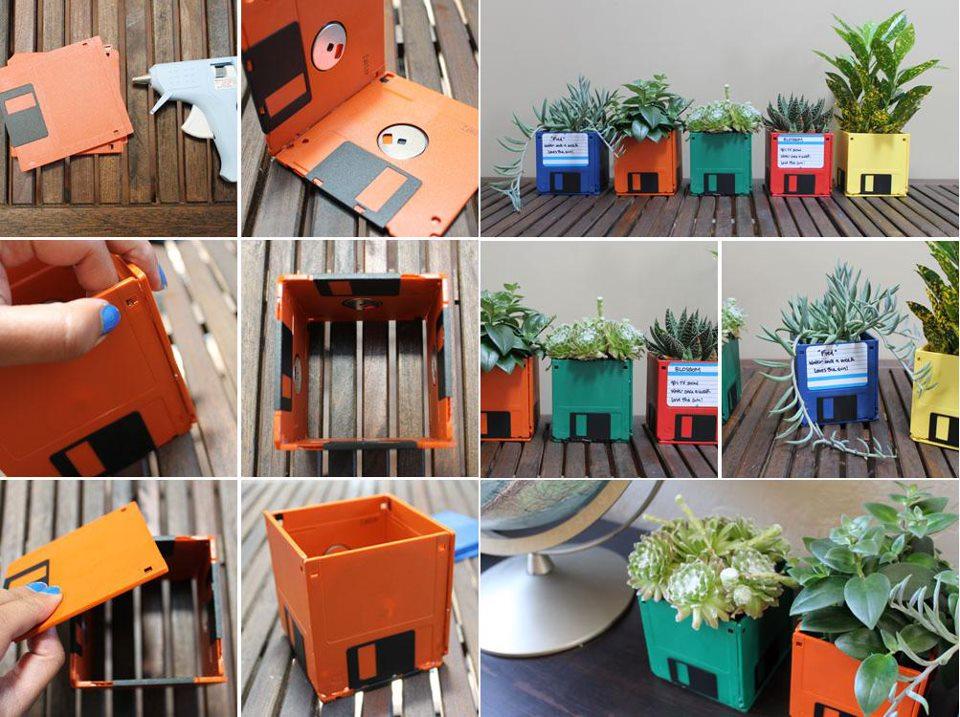 idée de projet de bricolage avec des disquettes de couleurs diverses, comment faire un cache pot, activite manuelle a faire soi meme