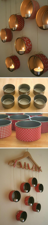 idée comment fabriquer un photophore soi meme, deco boite conserve customisé de papier à motifs, bougies, boites suspendues sur des pinces à linge à un cintre en bois