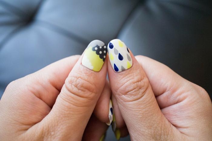 comment faire une manucure, ongles longs, nail art motifs nuage, gouttes en vernis, manucure blanche