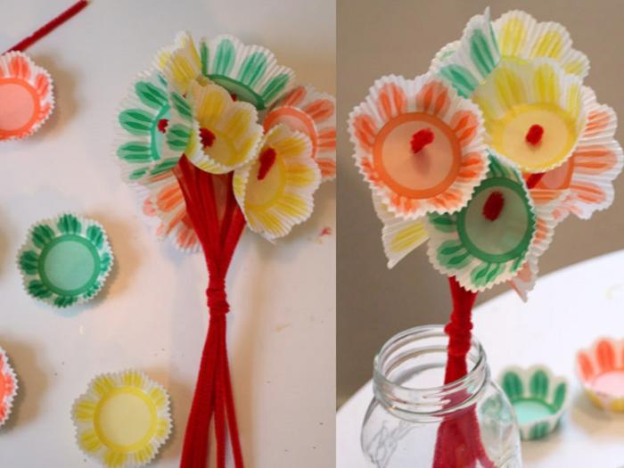 fete des meres 2017, bouquet de fleurs de moules à cupcakes en papier