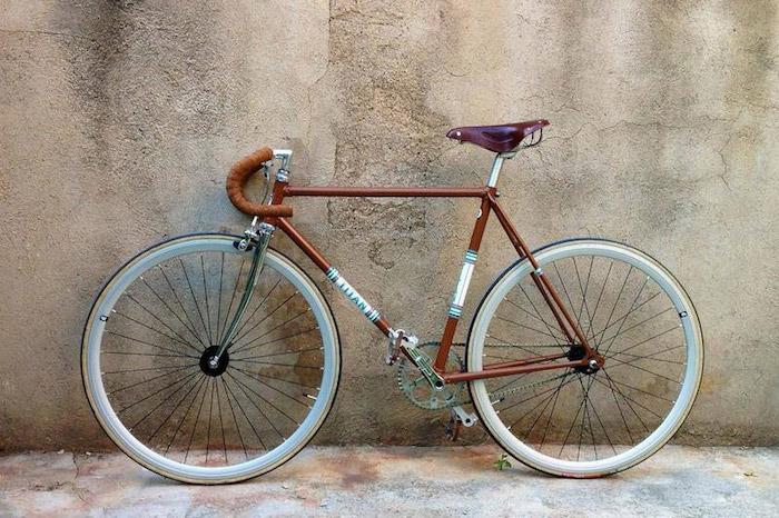 fixie vintage velo sans frein cadre titan marron guidoline convertir