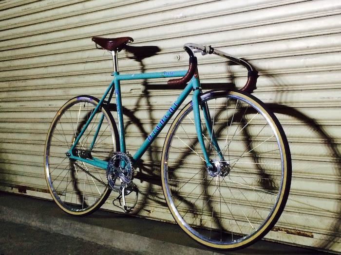 conversion piste vintage bianchi course fixie bleu