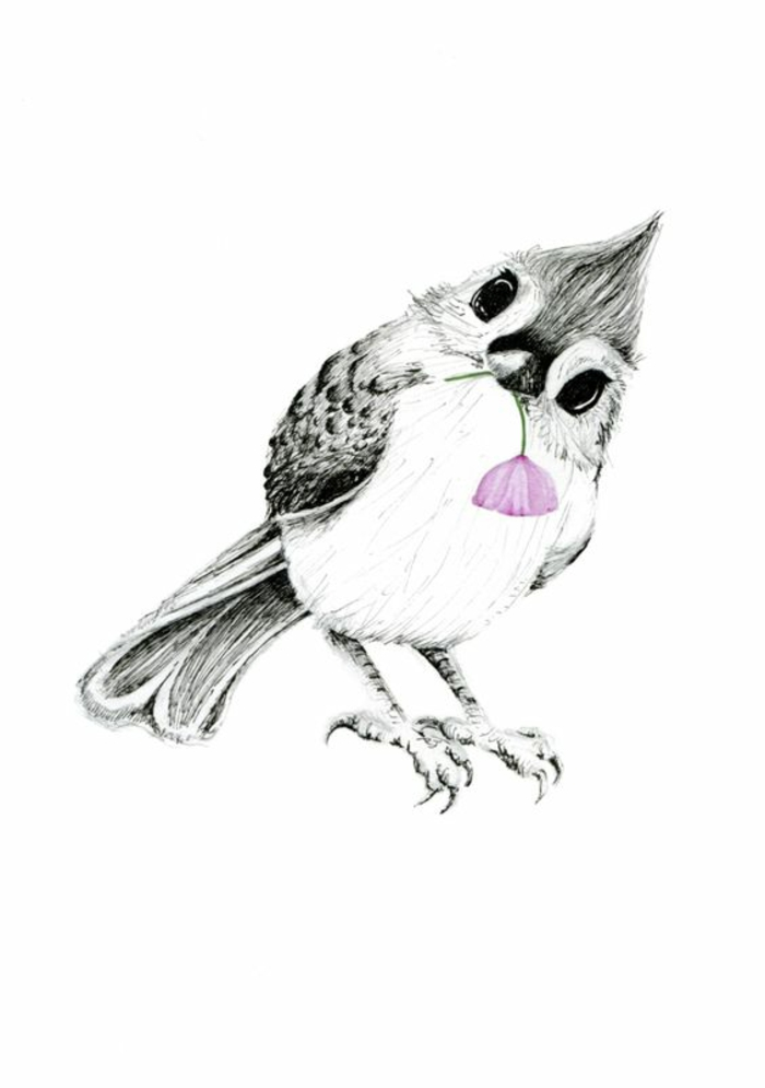 Formidable idée tattoo signification oiseau tatouage modèle oiseau avec fleur