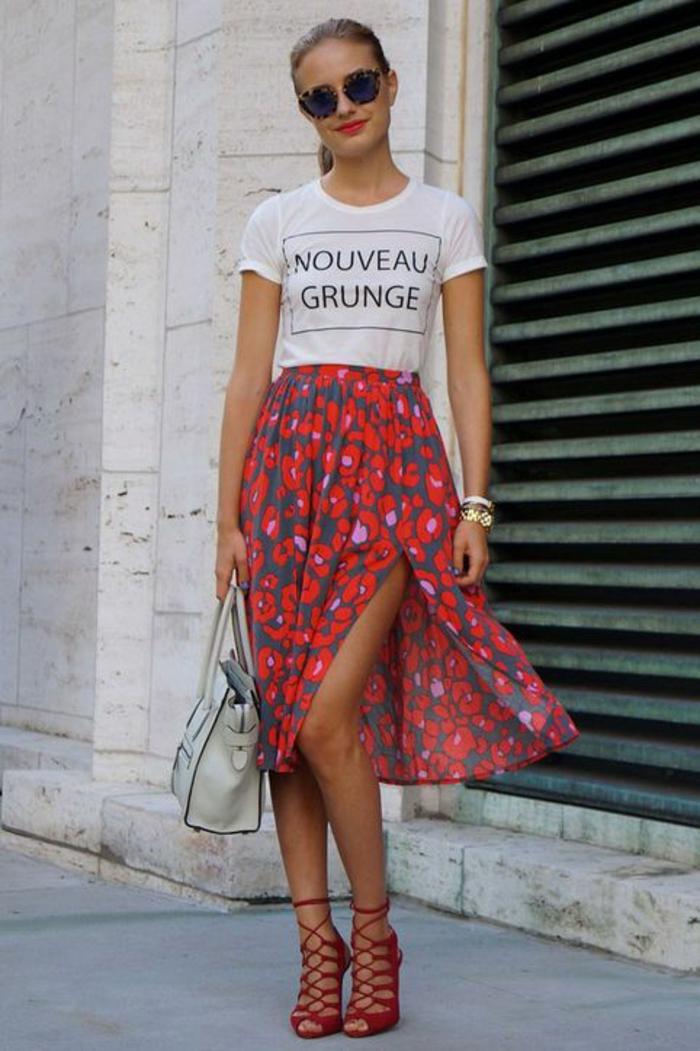 Formidable idee tenue d été style femme tenue ete jupe mi longue