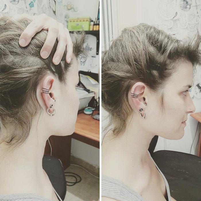 Emplacement tatouage derrière l oreille magnifique