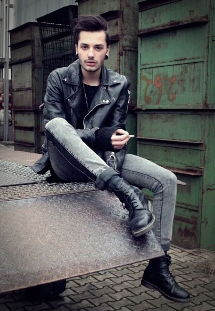 vetement grunge homme jean skinny blouson perfecto look rock année 90