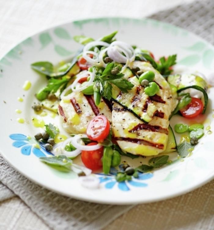 idée comment préparer du fromage halloumi avec des légumes grillés, une recete legere facile et rapide, recette pique nique vegetarienne
