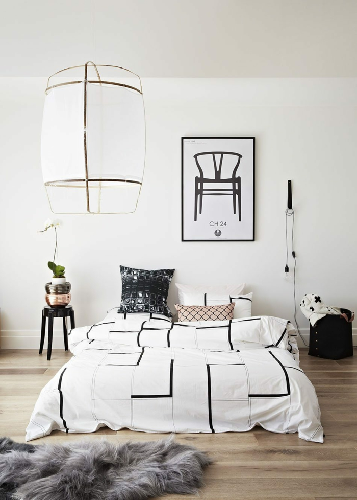 alternative moderne de la lampe de table, une suspension chevet façon lampe baladeuse, chambre à coucher moderne au style scandinave