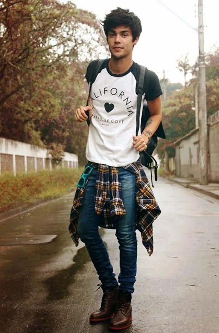 homme avec vetement grunge look rock simple chemise carreaux