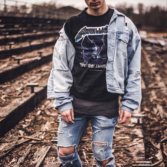 vêtements grunge homme rock punk 90 veste en jean levis jeans trous tee shirt metallica