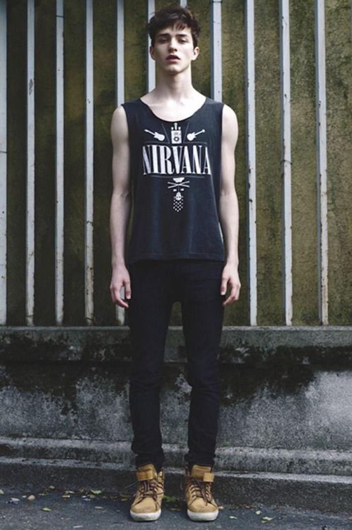habit grunge tee shirt nirvana sans manche pantalon skinny homme vetements 90s