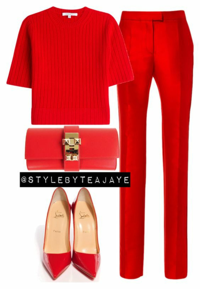 Habillée tenue de soiree femme tenue rouge total