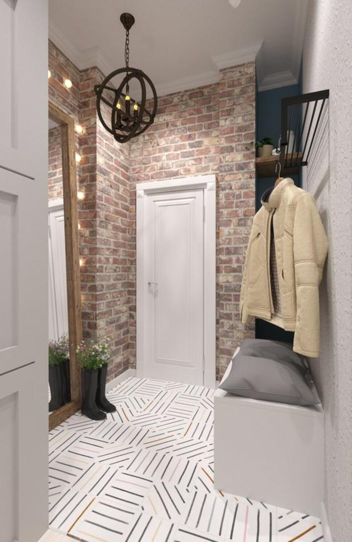 idee deco hall d entree maison aux murs couleur lavande et partie en brique nature brute avec luminaire aux 3 sphères