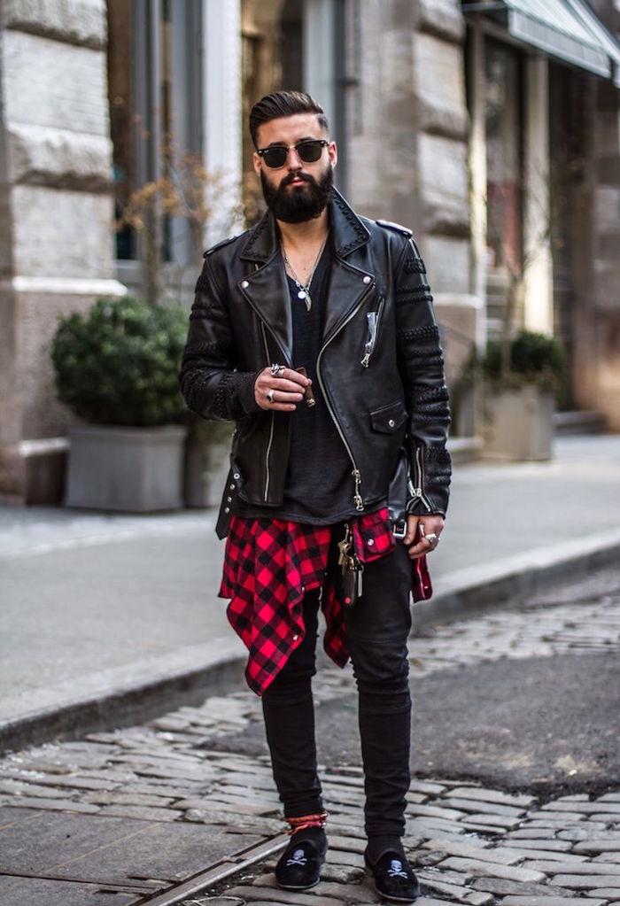 tenue homme vêtements grunge chemise carreaux rouge noir jean skinny barbe blouson perfecto