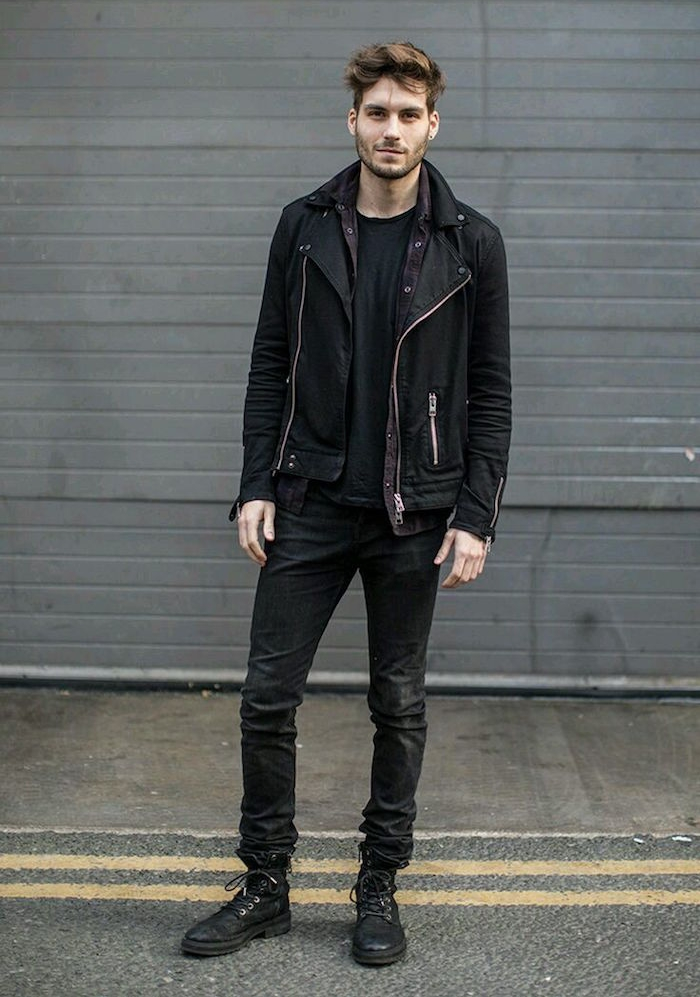 vetements grunge simple style rock homme noit tenue jean slim man perfecto