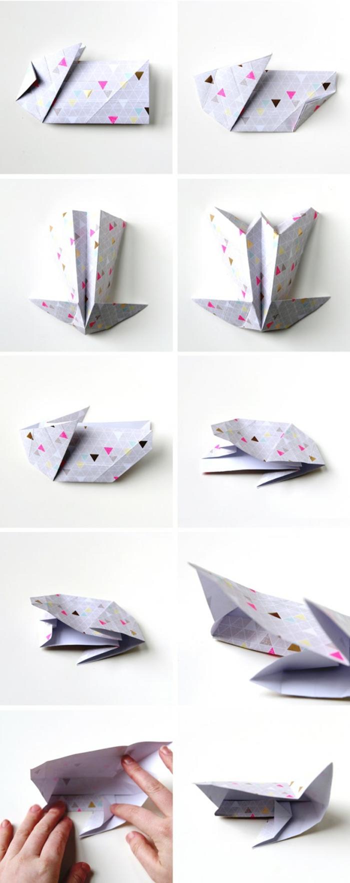 l'art de pliage papier, comment faire un lapin panier, tuto facile avec instructions