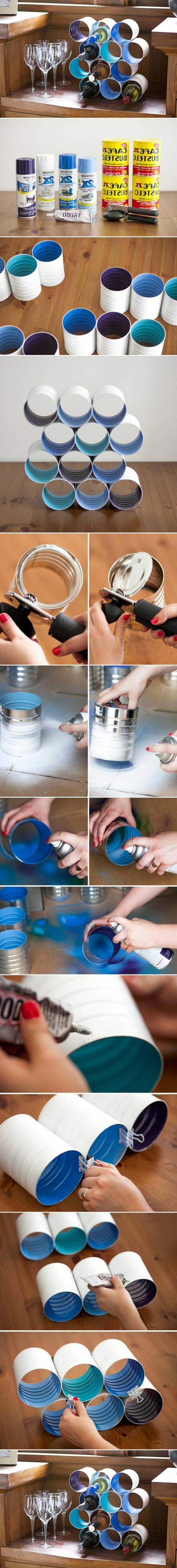 1001 tutoriels et id es de recyclage bo te de conserve - Fabriquer casier bouteille ...