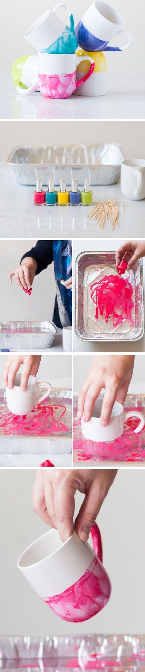 activité manuelle adulte, tutoriel comment créer un mug personnalisé, vernis à ongles à dissoudre dans de l au