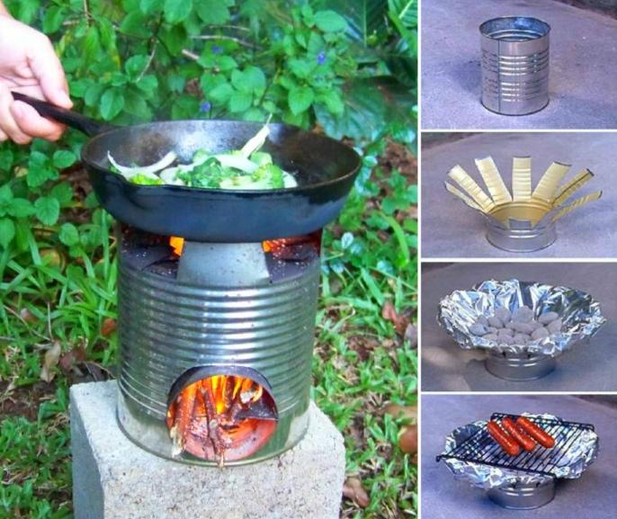 projet brico avec grosse boite de conserve, comment fabriquer un barbecue soi meme en dehors, recyclage boite de conserve, cadeau fête des pères à fabriquer