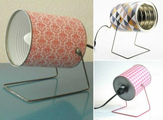 deco boite conserve, abat jour en boite de conserve customisée de papier à motifs divers, idée comment faire une lampe de nuit originale