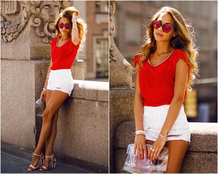 Look été femme tenue de ville idée pour les femmes shorts blanc cool