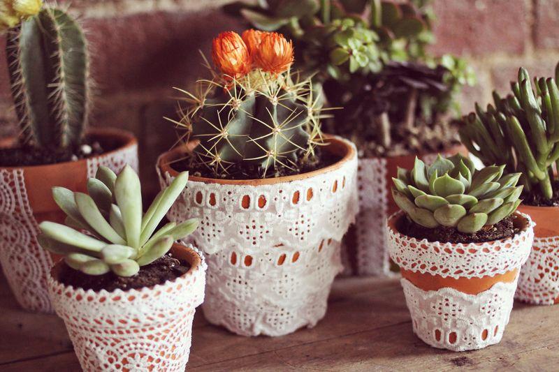 idee deco mariage a faire soi meme, des pots de fleurs en terre cuite, customisés de dentelle, des succulents et des cactées