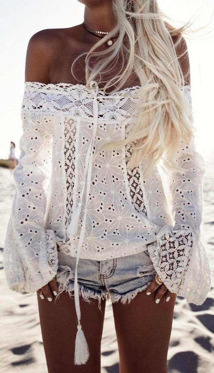 Blouse blanche dentelle epaules nues champetre robe bohème femme stylée hippie