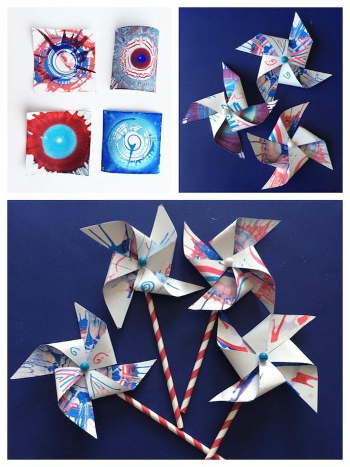 une idée originale pour recycler les dessins d'enfants, un moulin à vent réalisé avec un dessin recyclé et une paille
