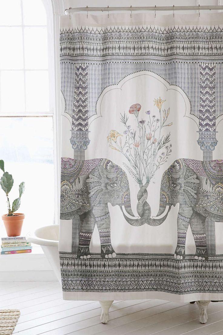 rideau de couhe originale éléphants inde indien gris blanc pour décoration salle de bain rénovée