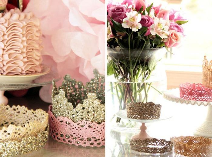 deco dentelle, une couronne repeinte de couleurs diverses, bouquet de fleurs, idée déco anniversaire enfant fille