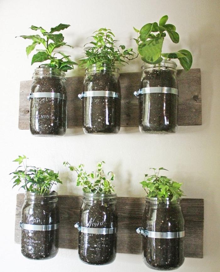 fabriquer petit pot pour plante diy pots verre planches bois