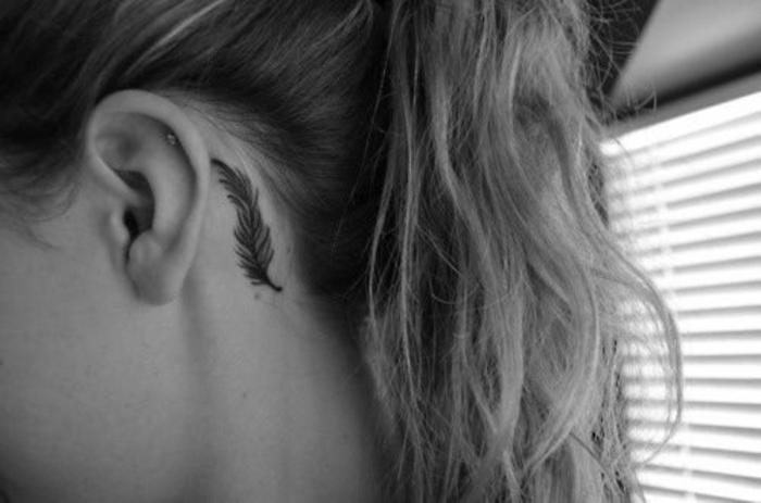Signification emplacement tatouage feminine plume