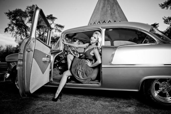 Vintage voiture et vêtements femme rockabilly robe idée comment s'habiller