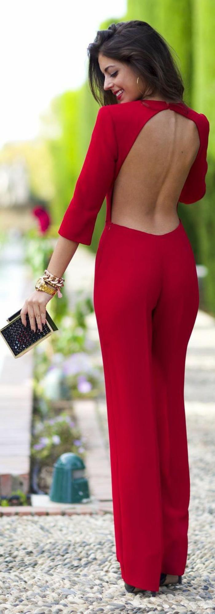 Excellente tenue de reveillon femme tenu classe femme rouge combinaison pantalon femme