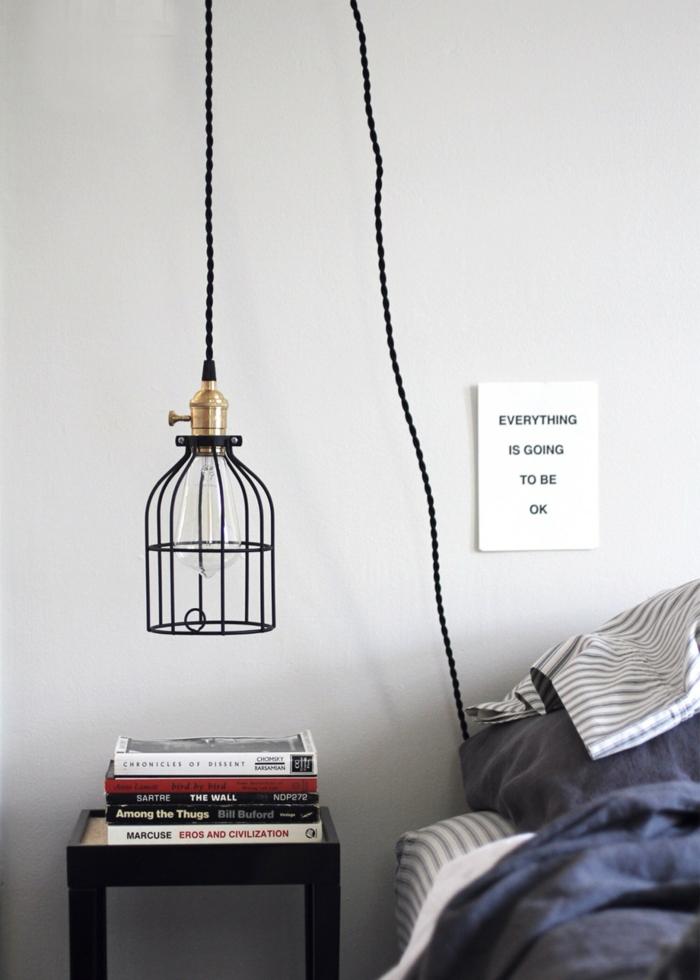 une lampe cage au design épuré, éclairage moderne dans une chambre à coucher au style minimaliste