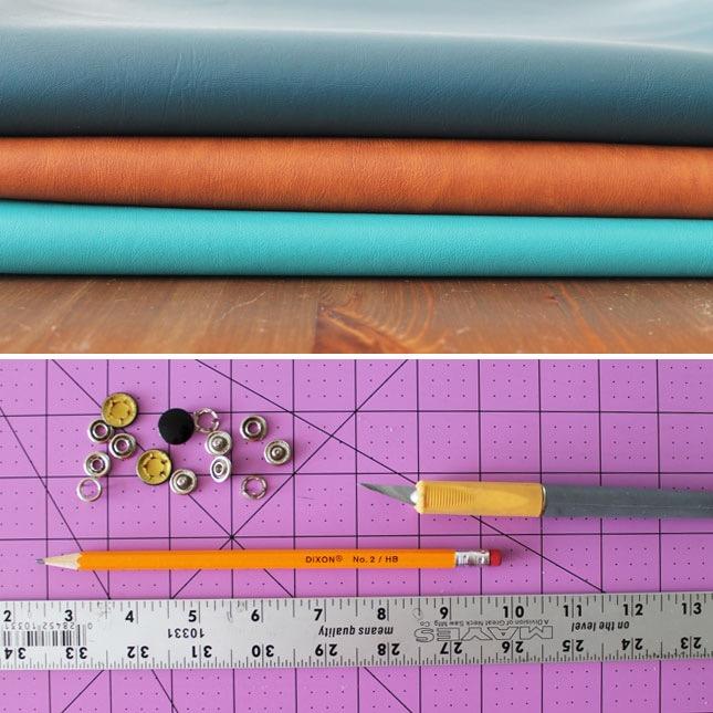 idée comment fabriquer un porte cables en cuir, matériaux nécesaires, pieces en cuir de tailles diverses, boutons pression, couteau x acto, règle en métal, crayon, tapis de découpe
