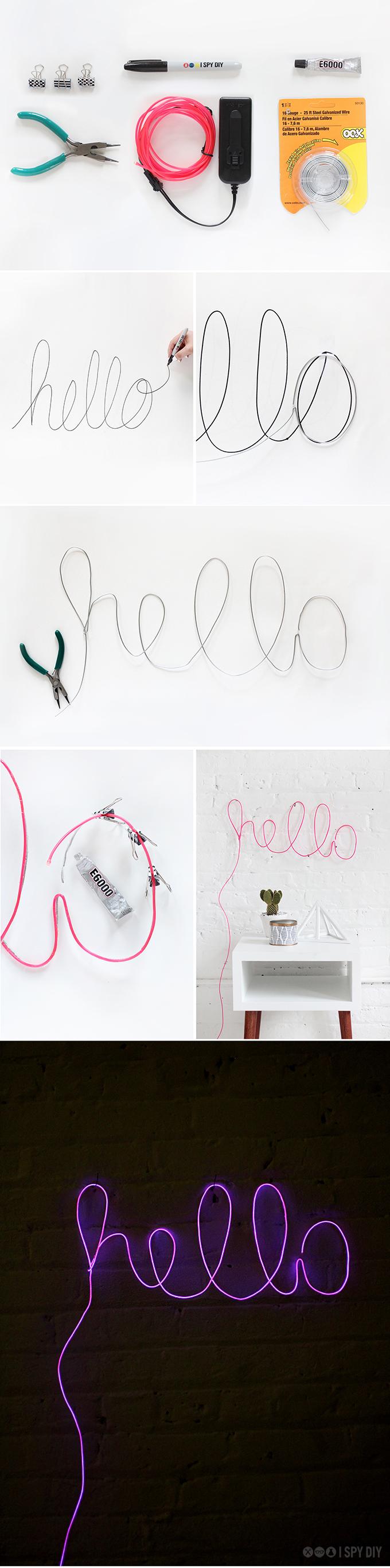 idée comment créer une deco en neon, lettres lumineuses, tutoriel, activité manuelle adulte, bricolage facile, idée créative