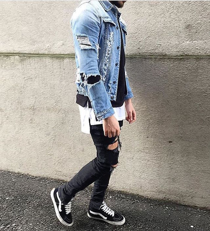 vetement habits grunge homme look rock jean slim veste en jean vintage  chaussures vans old skool