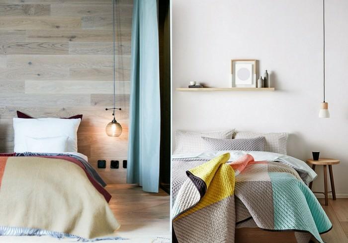 tendances dans l'éclairage ponctuel dans la chambre à coucher, un luminaire suspension basse au style minimaliste