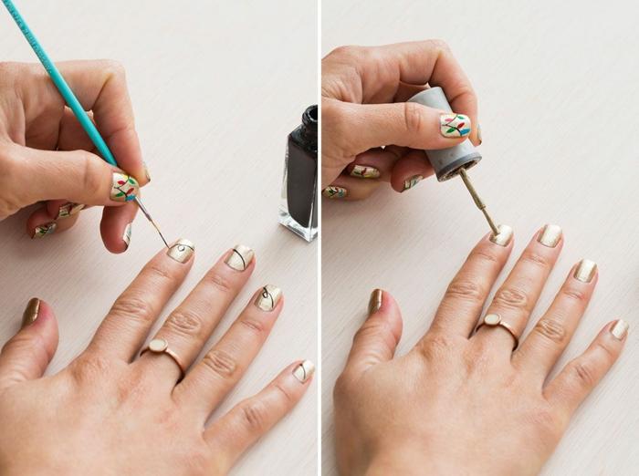 comment faire une manucure, décoration ongles pour noel, pinceau à ongles, vernis brillant