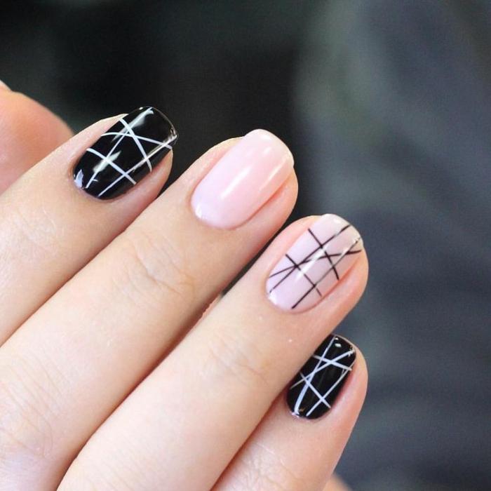 comment avoir de beaux ongles, vernis à ongles noir, manucure rose, lignes droites, manucure maison