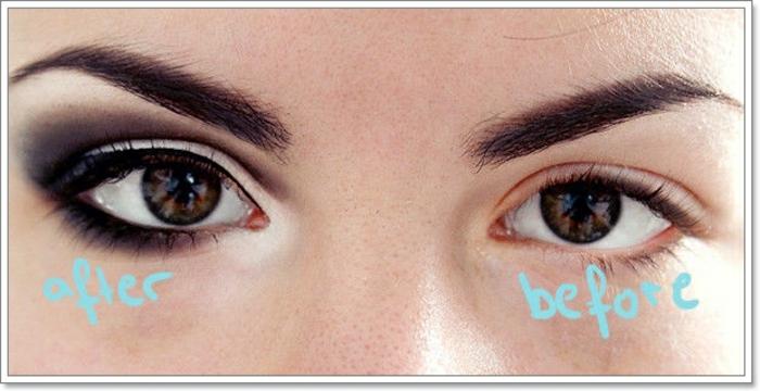 tuto maquillage yeux marrons, sourcils, eye-liner noir, maquillage smoky, fard à paupières foncées