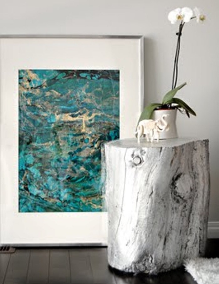 peindre tronc arbre bois peinture argent deco design
