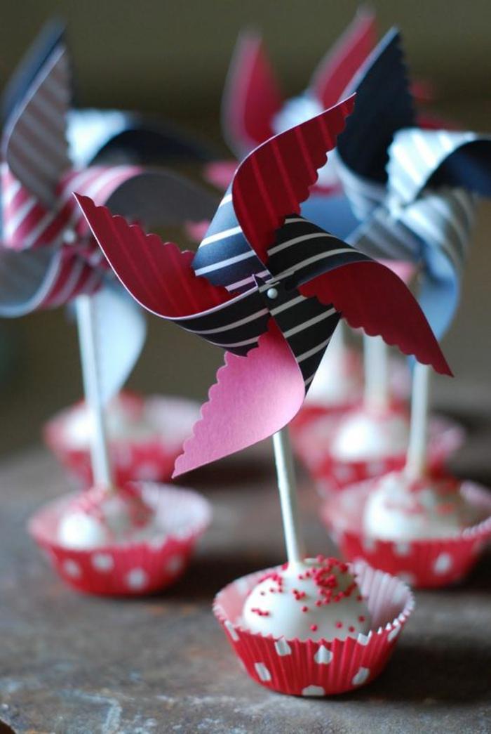 mini moulin à vent dentellé à décorer des cupcakes, topper cake original en papier
