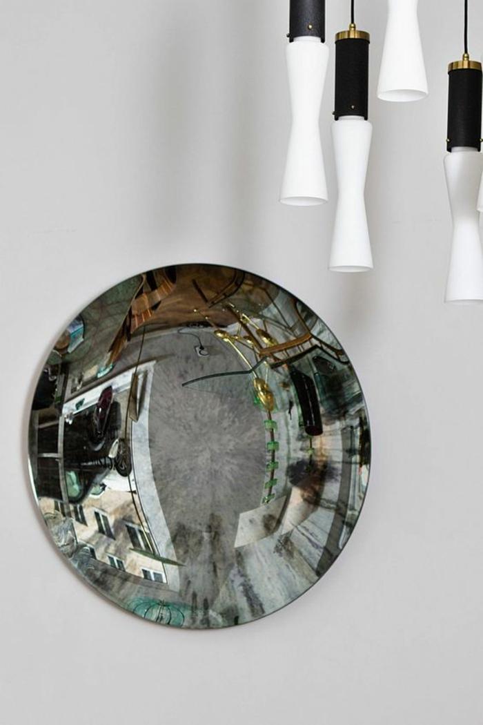 miroir de sorciere convexe les réflechit des objets altérés déco tendance du mur