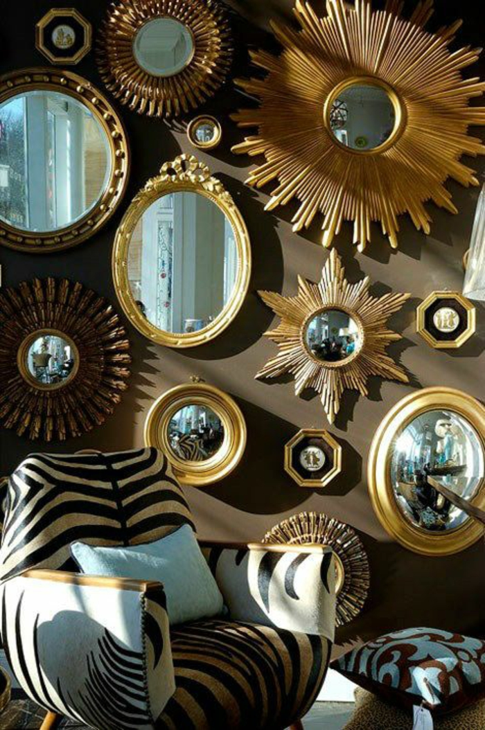 oeil de sorcière formes ovales et rondes miroir soleil comme déco sur un mur en marron