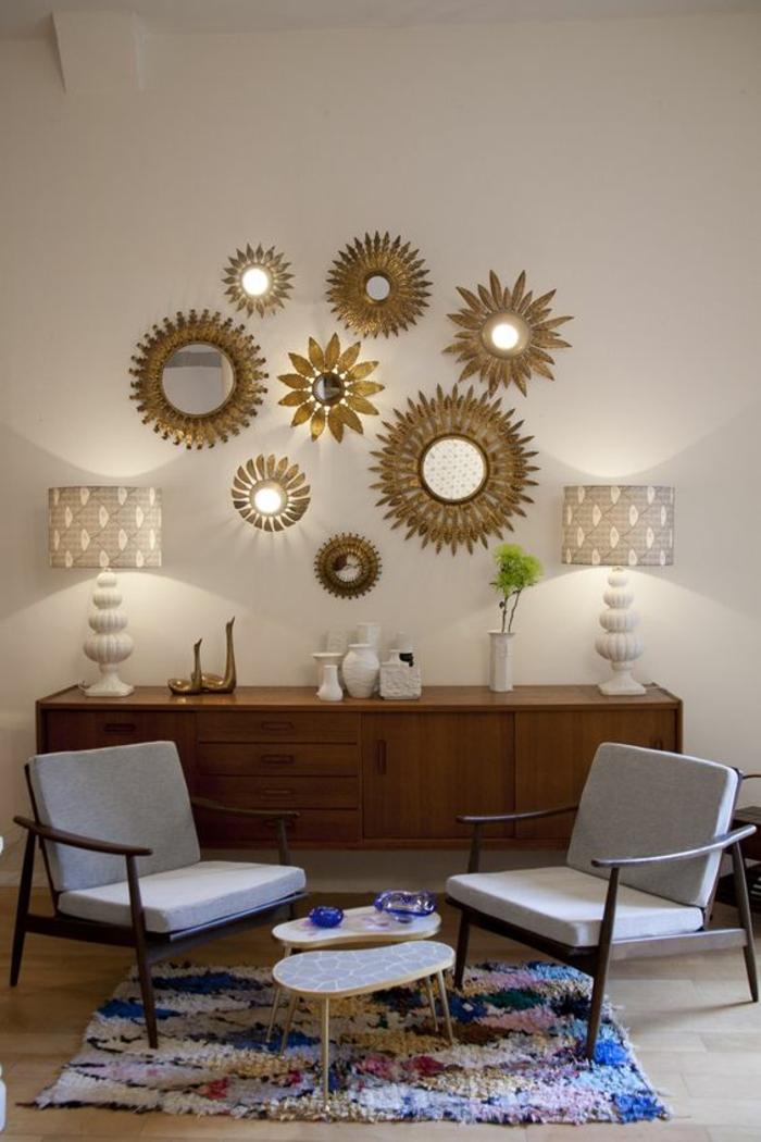 1001 id es pour l 39 ameublement avec le miroir sorci re - Decorer grand mur blanc ...