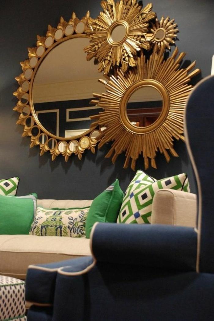 miroir de sorciere soleil vintage 4 pièces pour faire briller un mur tristounet