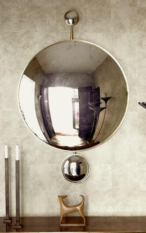 miroir ancien vintage sous la forme de deux boules petite et grande