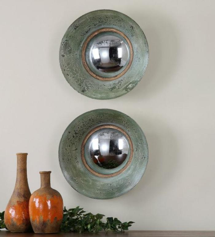miroir style ancien aux cadres en vert effet vieilli deux miroirs allignés en longueur